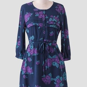Tulle Anthropologie Navy Floral Long Sleeve Dress